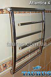 Узкий и низкий, выгнутый дизайнерский полотенцесушитель Atlantica 4/550х400 из н/ж стали. Тупиковые перемычки