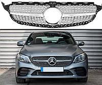 Радиаторная решетка Diamond Grille с диамантами W205 для Mercedes С160 C200 C300 под камеру Silver
