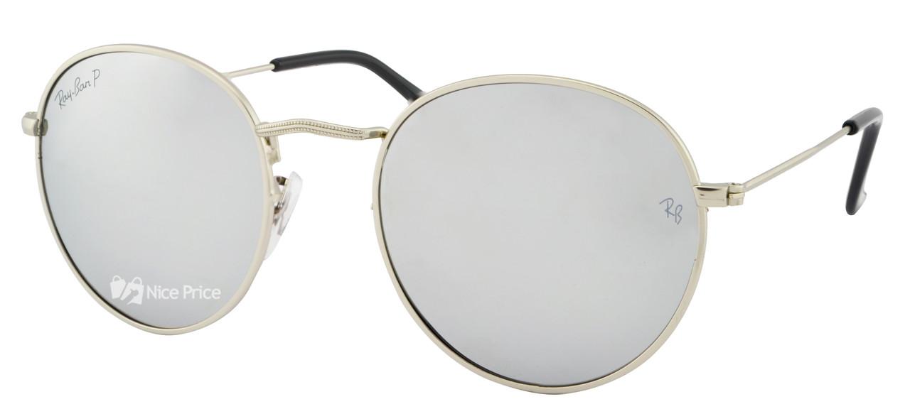 Солнцезащитные очки Ray Ban Round 3448 019/30 Silver поляризационные (реплика)