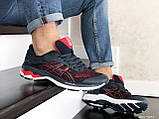 Мужские кроссовки Asics,сетка,темно синие с красным, фото 3