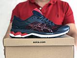 Мужские кроссовки Asics,сетка,темно синие с красным, фото 4