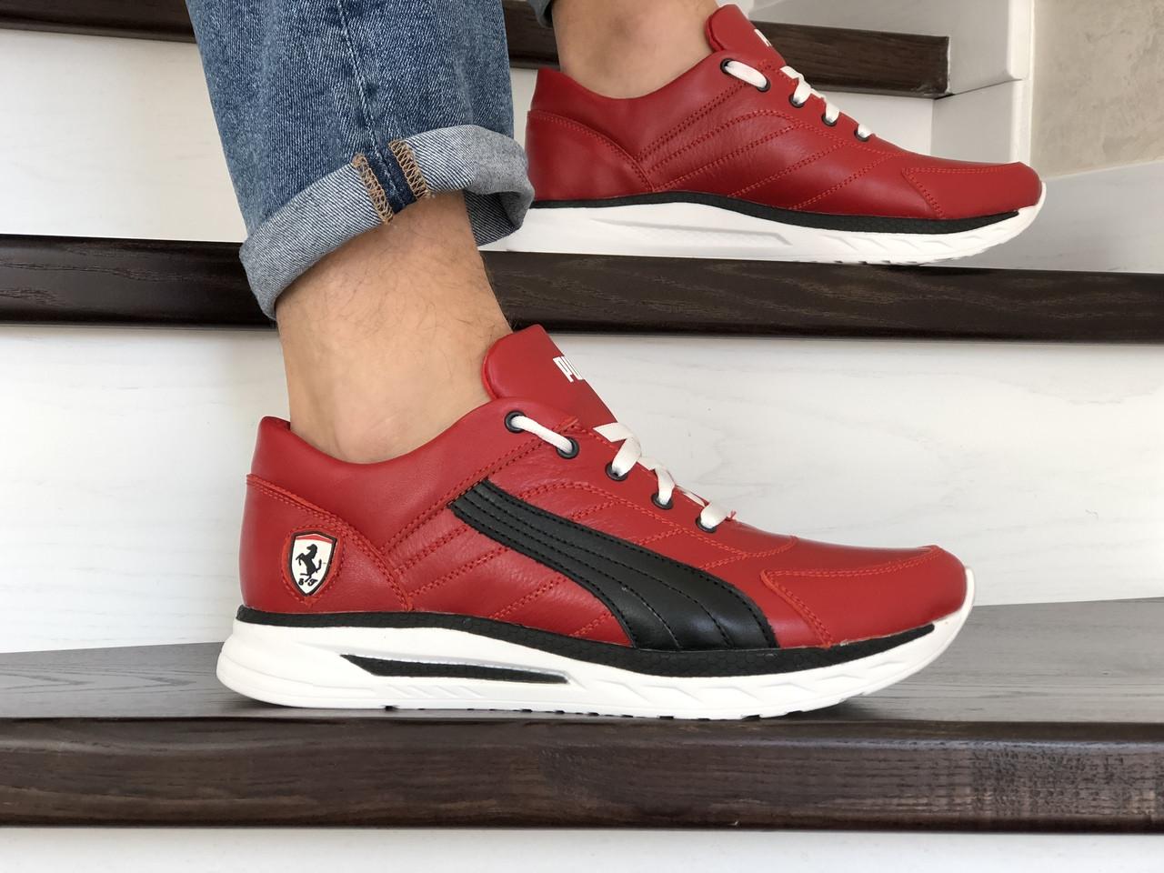Кожаные кроссовки Puma, красные