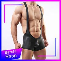 Мужское эротическое нижнее белье на подтяжках. Латексные сексуальные трусы мужские с подтяжками. Размер M