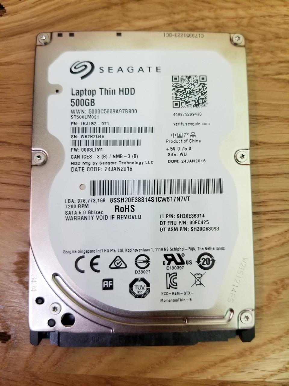 Жорстку диск для ноутбука Seagate Laptop Thin HDD 500GB 7200rpm 32MB ST500LM021 2.5 SATA III