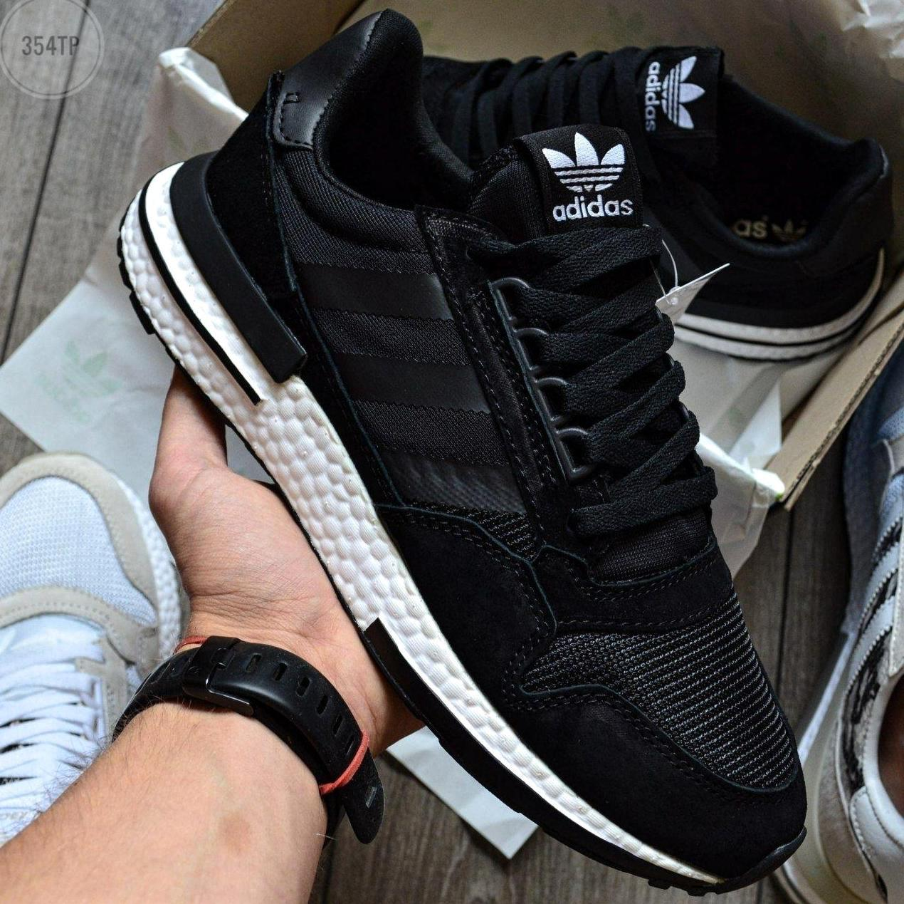 Мужские кроссовки Adidas ZX 500 RM Black/White, адидас зх 500