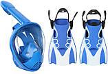 Детский набор для плавания 2 в 1 (полнолицевая панорамная маска FREE BREATH XS + короткие спортивные ласты M), фото 2