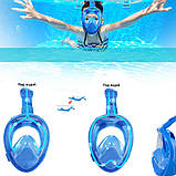 Детский набор для плавания 2 в 1 (полнолицевая панорамная маска FREE BREATH XS + короткие спортивные ласты M), фото 4