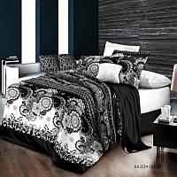 Комплект постельного белья Орнамент черно-белый, материал Ранфорс - 4 размера Евро