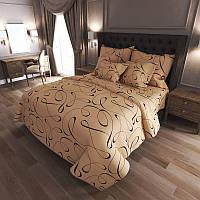 Комплект постельного белья Завитки brown - 4 размера материал Gold Двуспальный