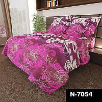 Комплект постельного белья Завитки на розовом - 3 размера материал Gold