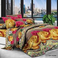 Постельное белье полиэстер Цветные розы 4 размера