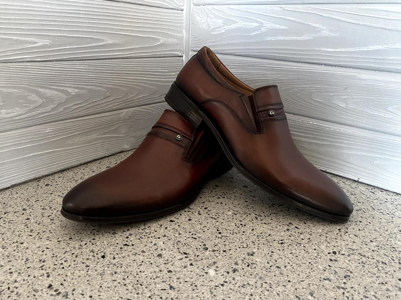Мужские кожаные туфли CEVIVO Коричневые, подъем регулируеться