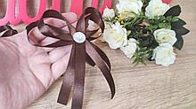 Бантик - бутоньерка для гостей. Цвет шоколадный.