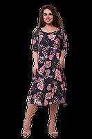 Платья для полных женщин с животом больших размеров с цветочным принтом C85S-3 синее