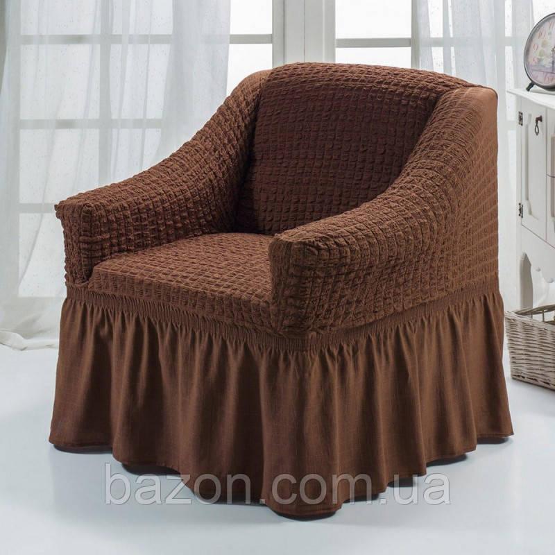 Чехол на кресло с юбкой Коричневый Burumcuk Arya Турция