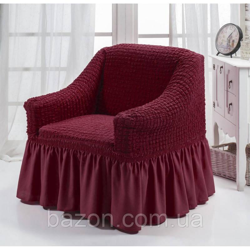 Чехол на кресло с юбкой Бордовый Burumcuk Arya Турция