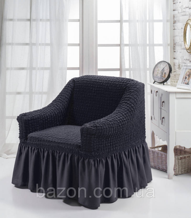 Чехол на кресло с юбкой Графитовый Home Collection Evibu Турция