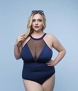 Женский слитный купальник с сеткой на груди больших размеров 50-60