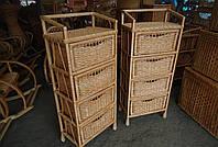 Комод на 4 ящика, плетенный из лозы