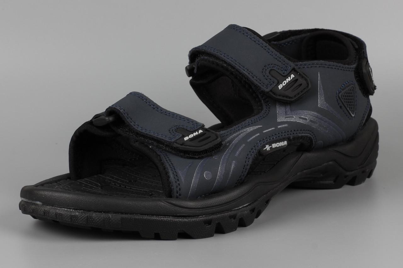 Сандалии босоножки мужские кожаные на липучке синие Bona 776H Бона Размеры 41 43 44 45 46
