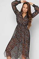 Легкое длинное женское шифоновое черное платье в цветочный принт с длинным рукав и асимметричным низом