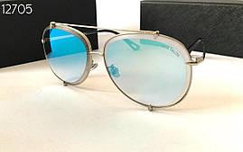 Cолнцезащитные женские очки голубые зеркальные авиаторы  Dita (SKU555)