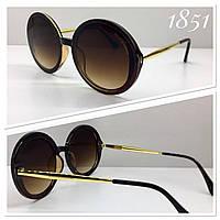 Круглые солнцезащитные очки Dolce Gabbana оверсайз линза коричневая градиент (SKU555)