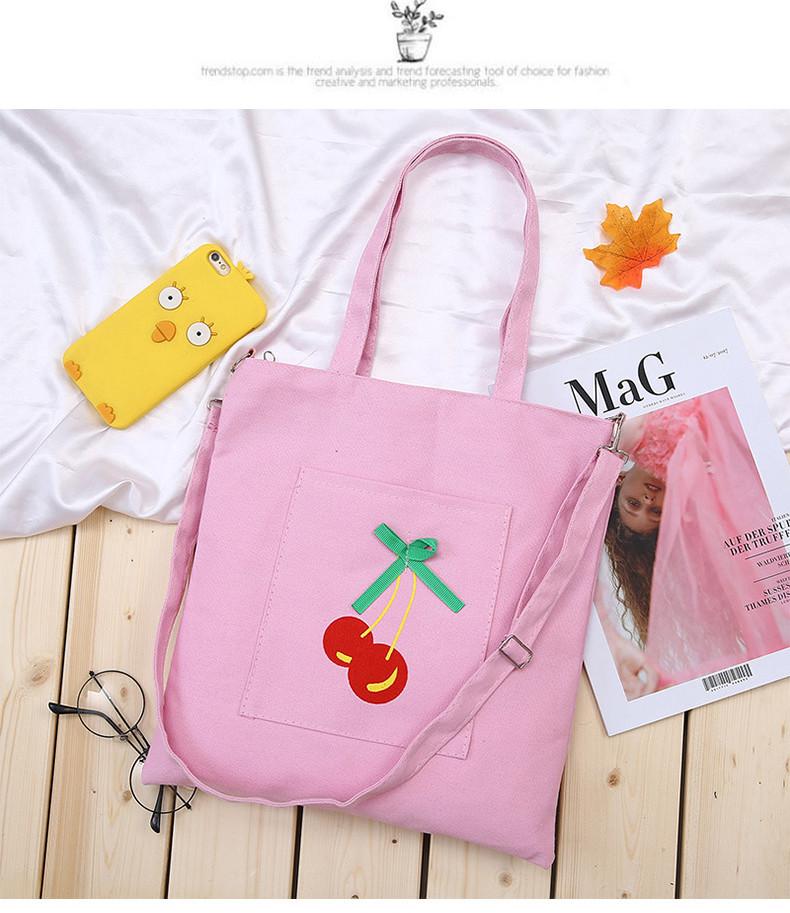 Эко-сумка розовая с с вишней