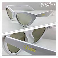 Женские солнцезащитные очки  кошечки зеркальные белая оправа (SKU555)