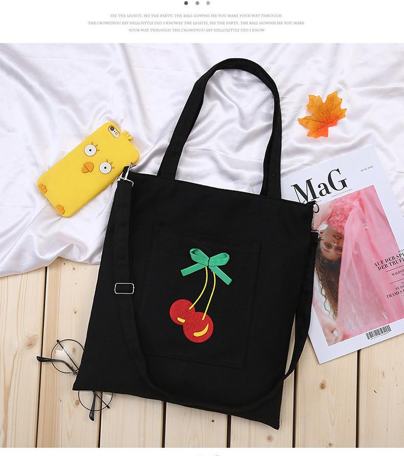 Эко-сумка черная с с вишней