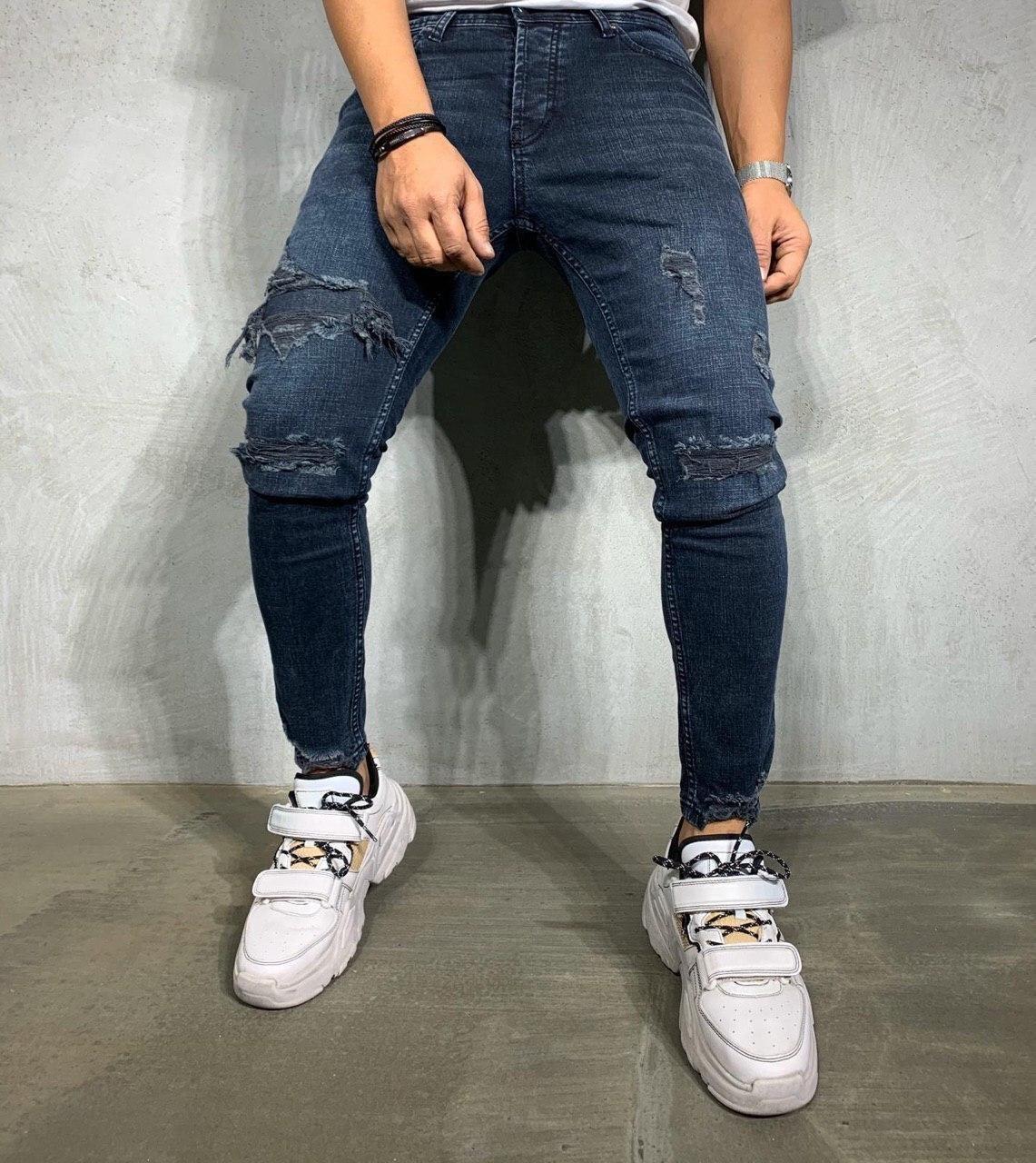 Мужские джинсы зауженные с латками Турция Люкс качество