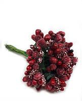"""""""Тичинки в цукрі"""" вишневі, штучних на розетці листя (1 набір - 12 гілочок ), фото 1"""