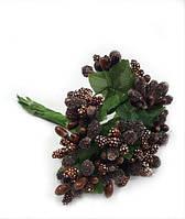 """""""Тычинки в сахаре"""" коричневые, искусственных на розетке листьев (1 набор - 12 веточек ), фото 1"""