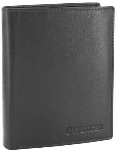 Вместительное мужское портмоне из натуральной кожи Wenger 2-02BK черный