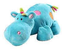 BABY ONO Мягкая велюровая игрушка с погремушкой Бегемот маленькая 994 Голубой