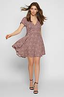 Легкое летнее платье мини в мелкий цветочек с расклешенной юбкой на каждый день