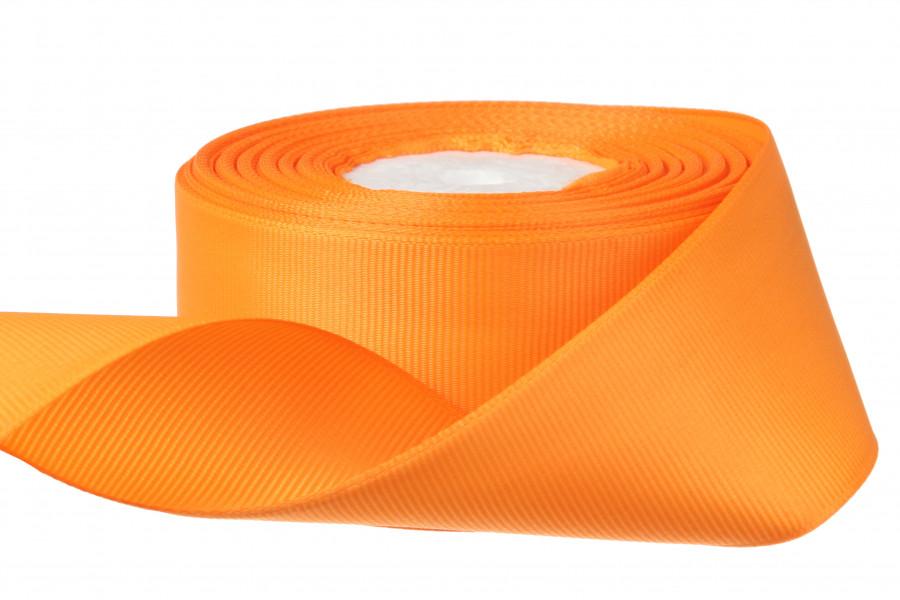 Лента репсовая 4 см темно оранжевая бобина 18 м - 51 грн