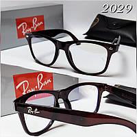 Крутые имиджевые очки компьютерные в глянцевой коричневой оправе Ray Ban
