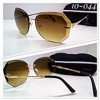 Солнцезащитные женские очки льдинки коричневые с футляром высокого качества ТУРЦИЯ