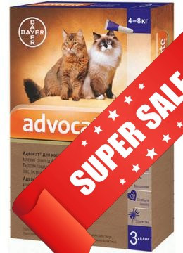 Капли на холку от блох и клещей Bayer Advocate для кошек от 4 до 8 кг 3 х 0,8 мл