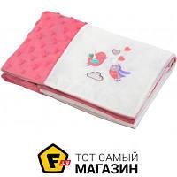 Плед для новорожденных 100 x 75 см - облегченное - полиэфирное волокно Babyono Minky Patchwork 75x100см, розовый (1411/01) розовый