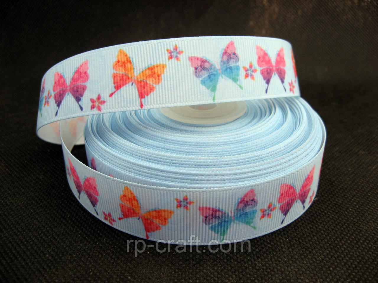 Стрічка репсова. Метелики на блакитному, 22 мм