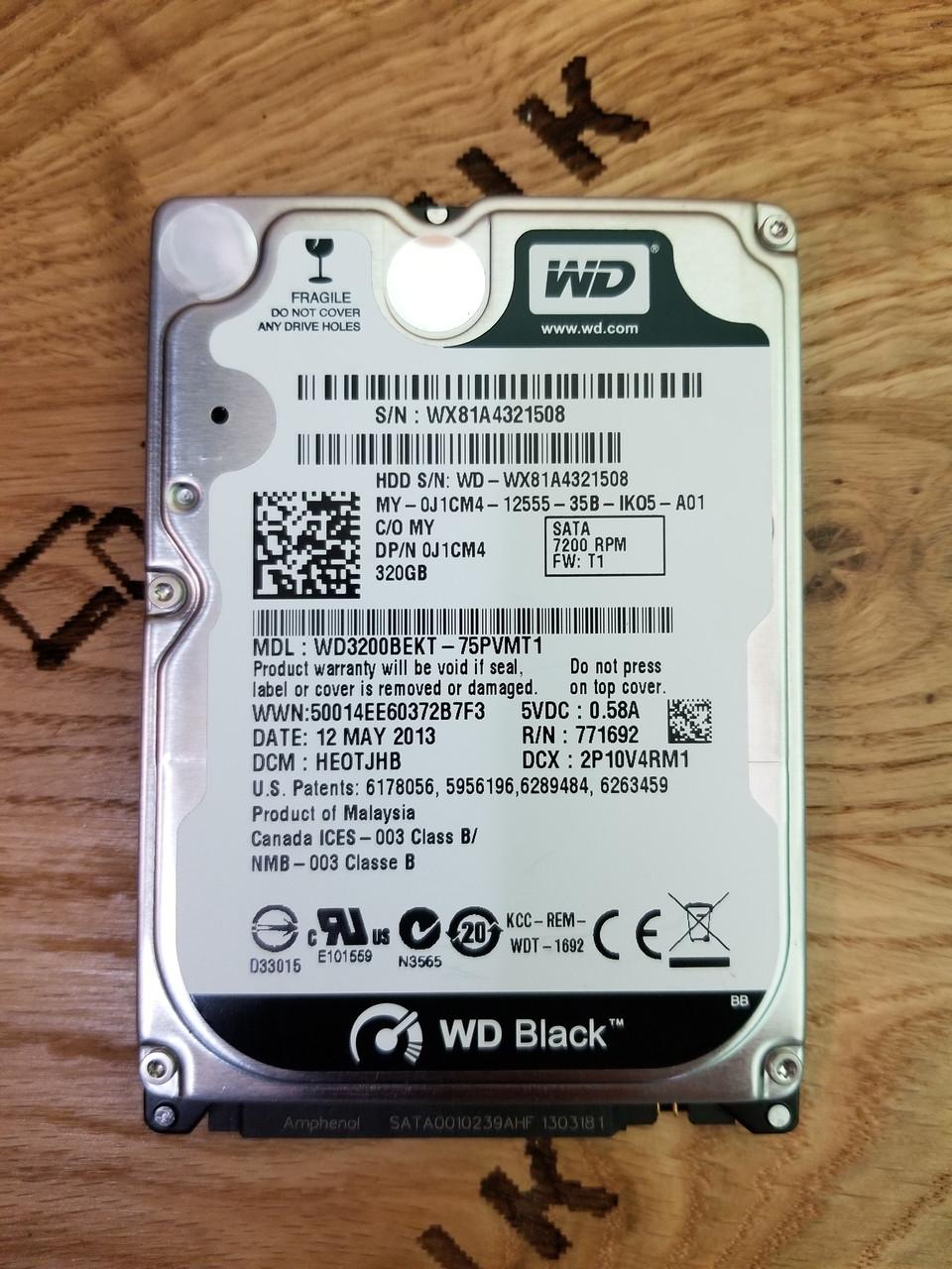 Жорсткий диск для ноутбука Western Digital Black 320GB 7200rpm 16MB (WD3200BEKT)