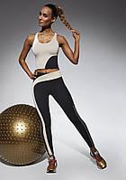 Женский костюм для фитнеса Bas Bleu Flow S Черно-бежевый (bb0139), фото 1