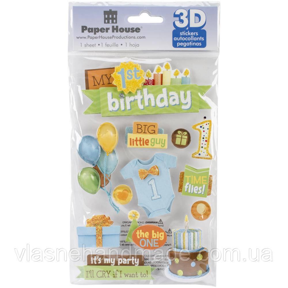 Наклейки 3D - 1st Birthday-Boy - Paper House