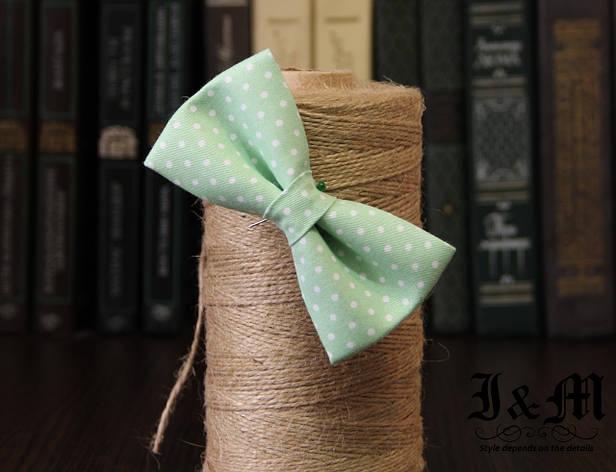 Галстук-бабочка I&M Craft зелёный в горошек (010505), фото 2