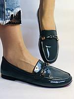 Стильные женские синие туфли-мокасины . Натуральная лакированная  кожа. 37, фото 2