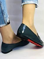 Стильные женские синие туфли-мокасины . Натуральная лакированная  кожа. 37, фото 6