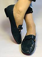 Стильные женские синие туфли-мокасины . Натуральная лакированная  кожа. 37, фото 7