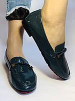 Стильные женские синие туфли-мокасины . Натуральная лакированная  кожа. 37, фото 4
